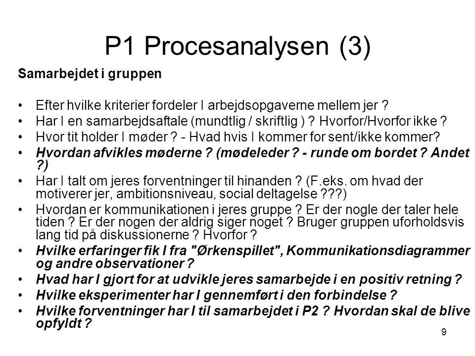 9 P1 Procesanalysen (3) Samarbejdet i gruppen Efter hvilke kriterier fordeler I arbejdsopgaverne mellem jer ? Har I en samarbejdsaftale (mundtlig / sk