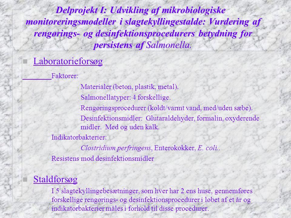 Delprojekt I: Udvikling af mikrobiologiske monitoreringsmodeller i slagtekyllingestalde: Vurdering af rengørings- og desinfektionsprocedurers betydning for persistens af Salmonella.