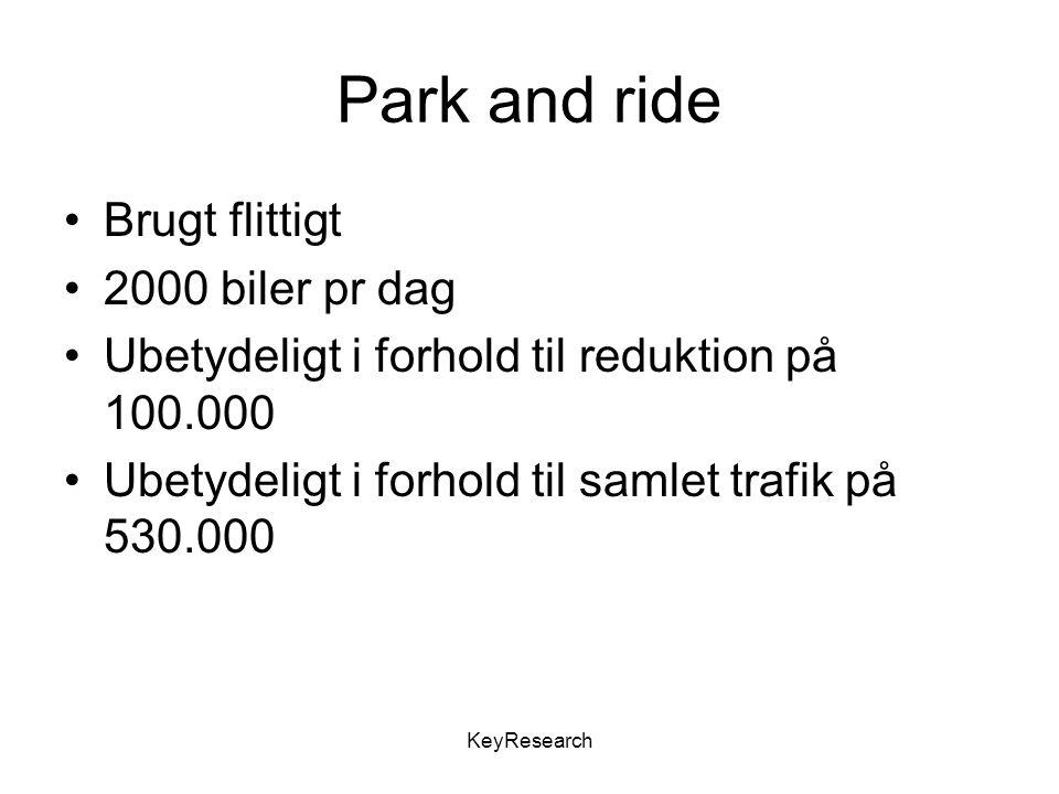 KeyResearch Park and ride Brugt flittigt 2000 biler pr dag Ubetydeligt i forhold til reduktion på 100.000 Ubetydeligt i forhold til samlet trafik på 530.000