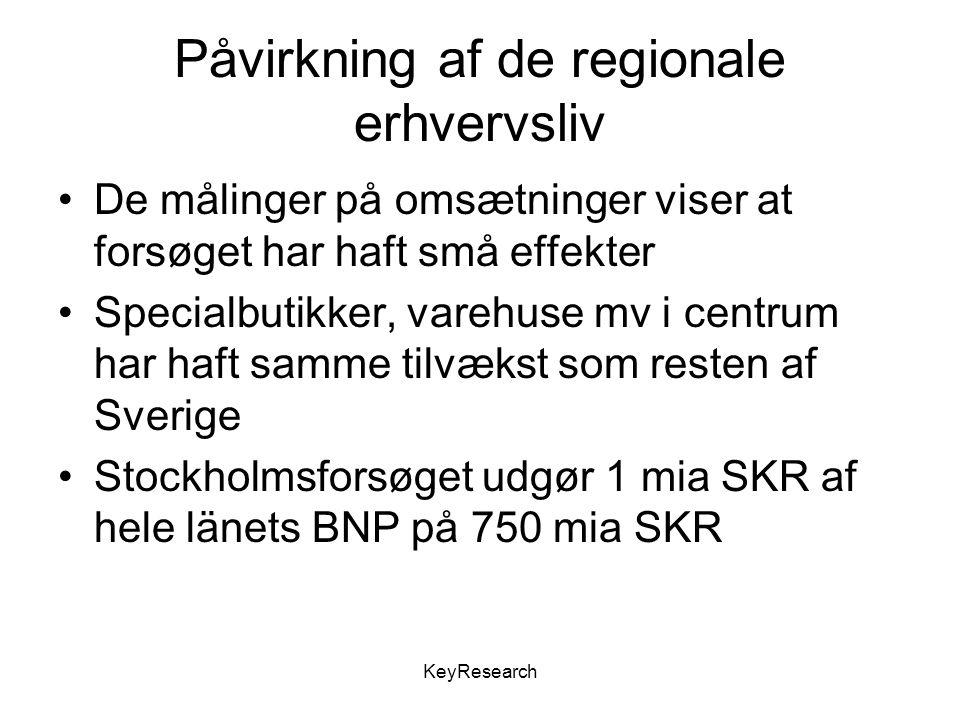 KeyResearch Påvirkning af de regionale erhvervsliv De målinger på omsætninger viser at forsøget har haft små effekter Specialbutikker, varehuse mv i centrum har haft samme tilvækst som resten af Sverige Stockholmsforsøget udgør 1 mia SKR af hele länets BNP på 750 mia SKR