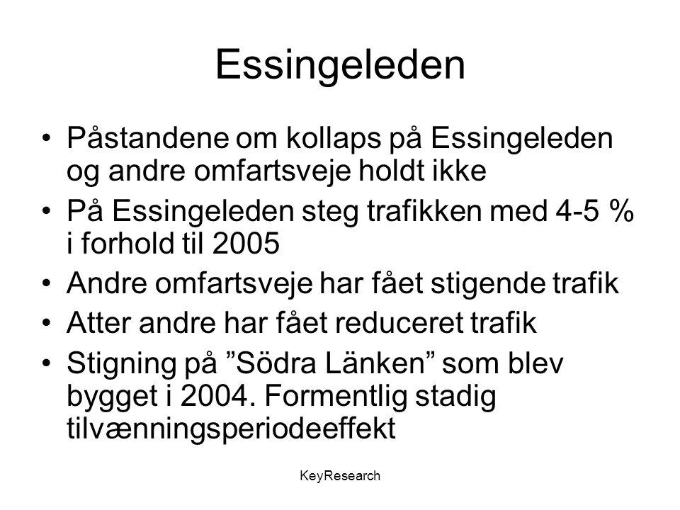 Essingeleden Påstandene om kollaps på Essingeleden og andre omfartsveje holdt ikke På Essingeleden steg trafikken med 4-5 % i forhold til 2005 Andre omfartsveje har fået stigende trafik Atter andre har fået reduceret trafik Stigning på Södra Länken som blev bygget i 2004.