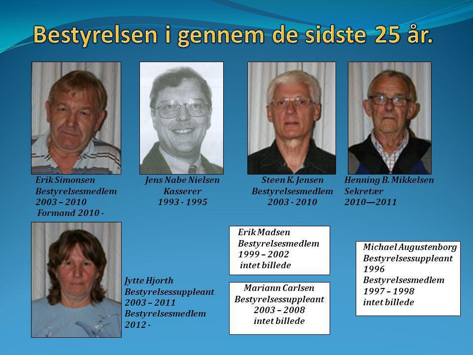 Erik Simonsen Bestyrelsesmedlem 2003 – 2010 Formand 2010 - Jens Nabe Nielsen Kasserer 1993 - 1995 Steen K.