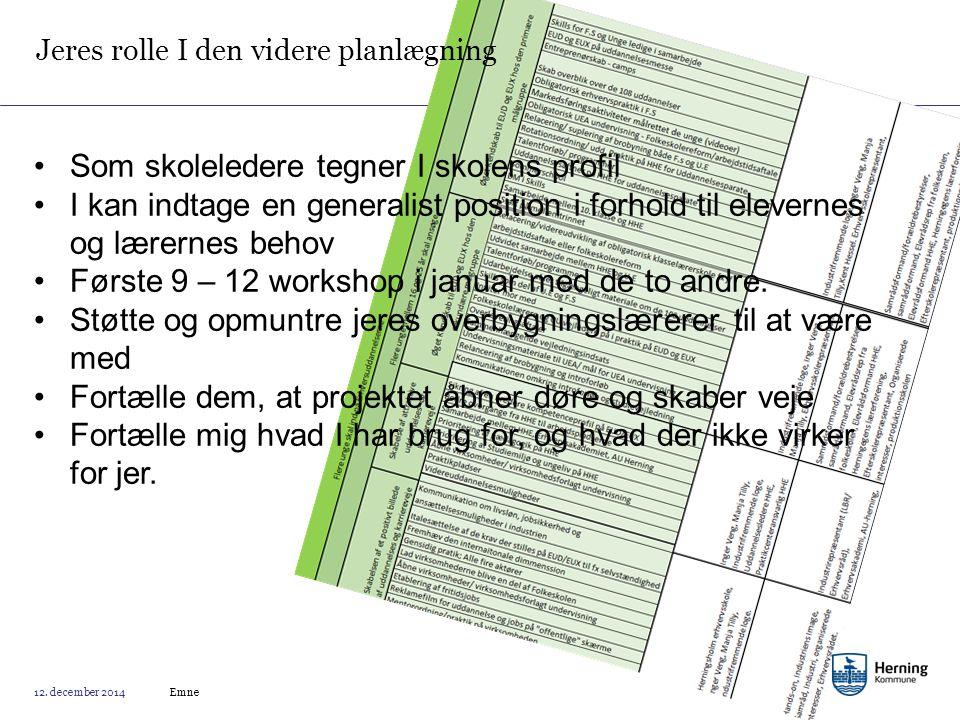Jeres rolle I den videre planlægning Emne 12.