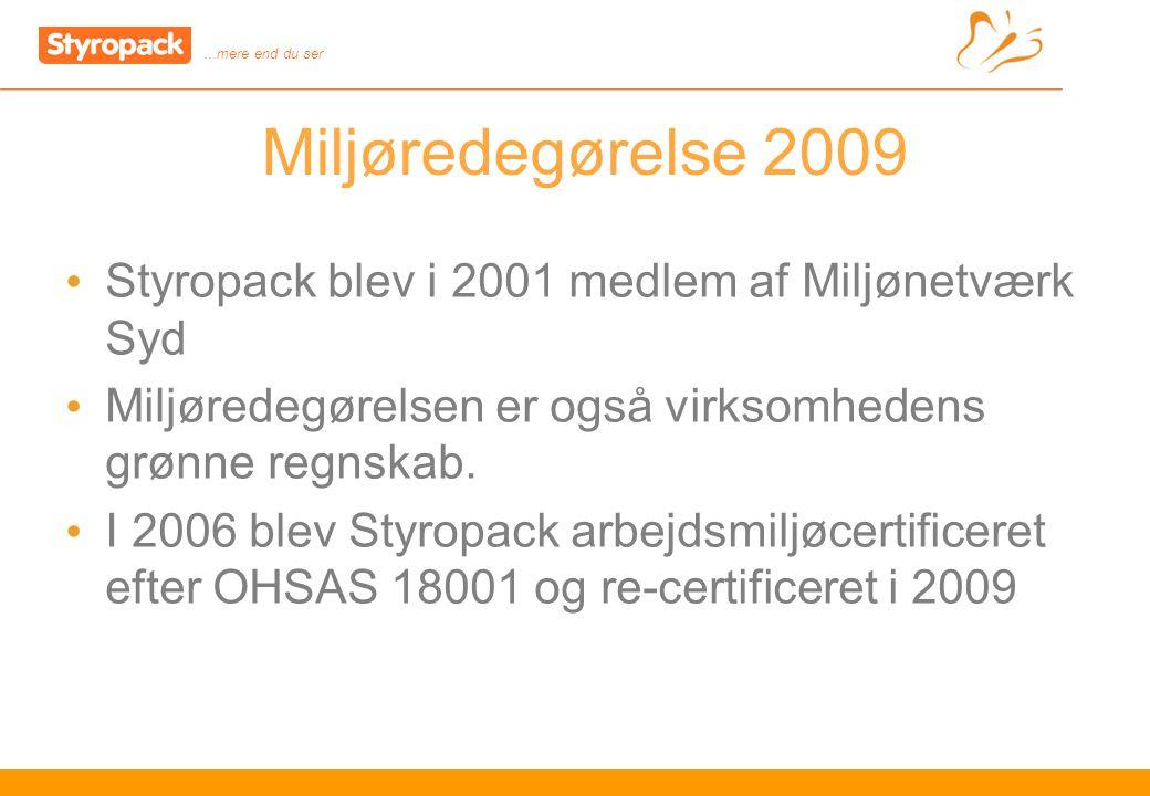 …mere end du ser 7 Miljøredegørelse 2009 Styropack blev i 2001 medlem af Miljønetværk Syd Miljøredegørelsen er også virksomhedens grønne regnskab.