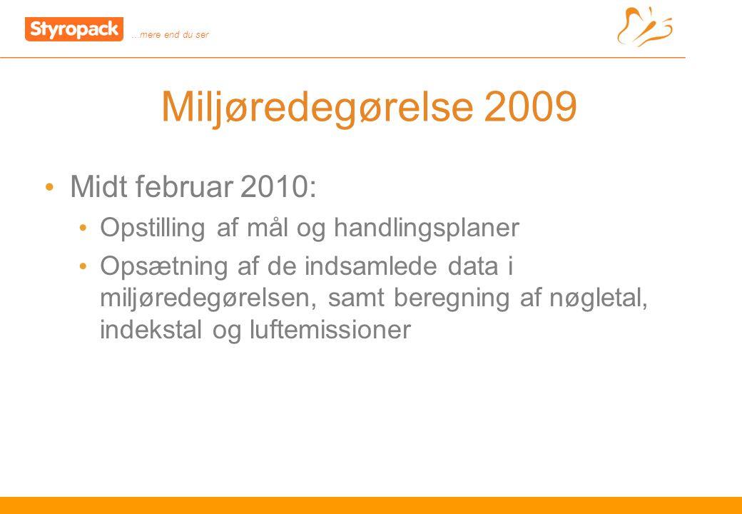 …mere end du ser 9 Miljøredegørelse 2009 Midt februar 2010: Opstilling af mål og handlingsplaner Opsætning af de indsamlede data i miljøredegørelsen, samt beregning af nøgletal, indekstal og luftemissioner