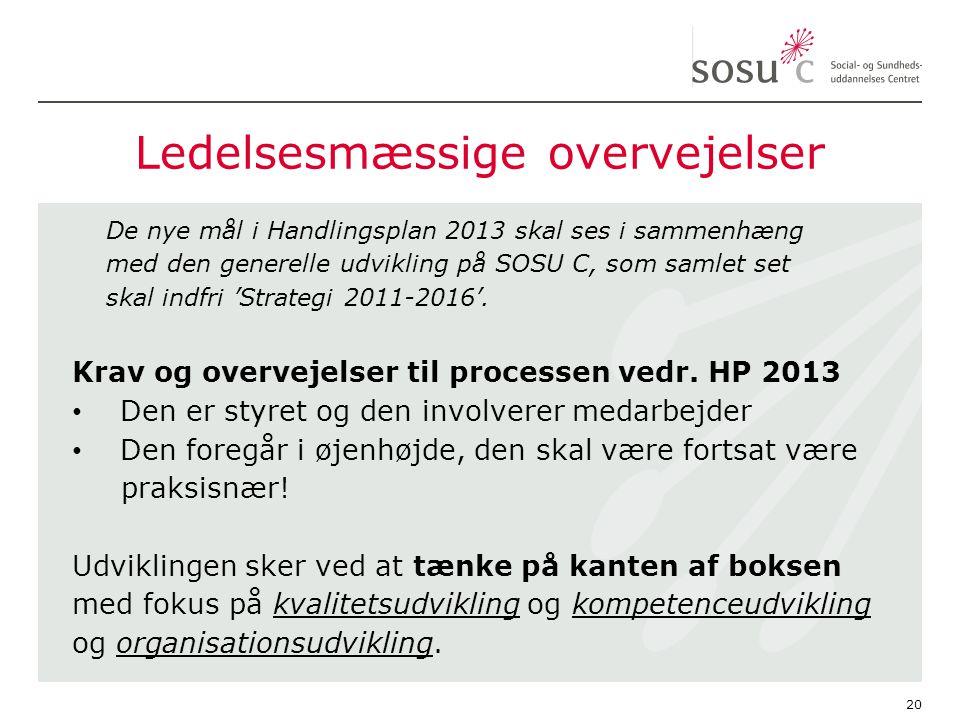 Ledelsesmæssige overvejelser De nye mål i Handlingsplan 2013 skal ses i sammenhæng med den generelle udvikling på SOSU C, som samlet set skal indfri 'Strategi 2011-2016'.