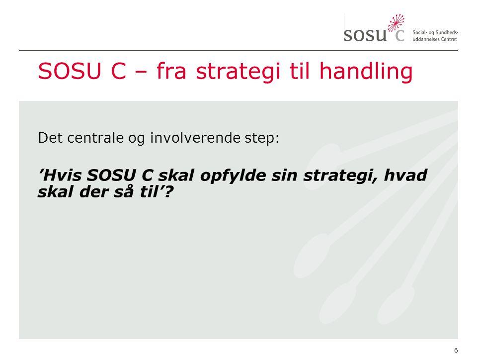 SOSU C – fra strategi til handling Det centrale og involverende step: 'Hvis SOSU C skal opfylde sin strategi, hvad skal der så til'.