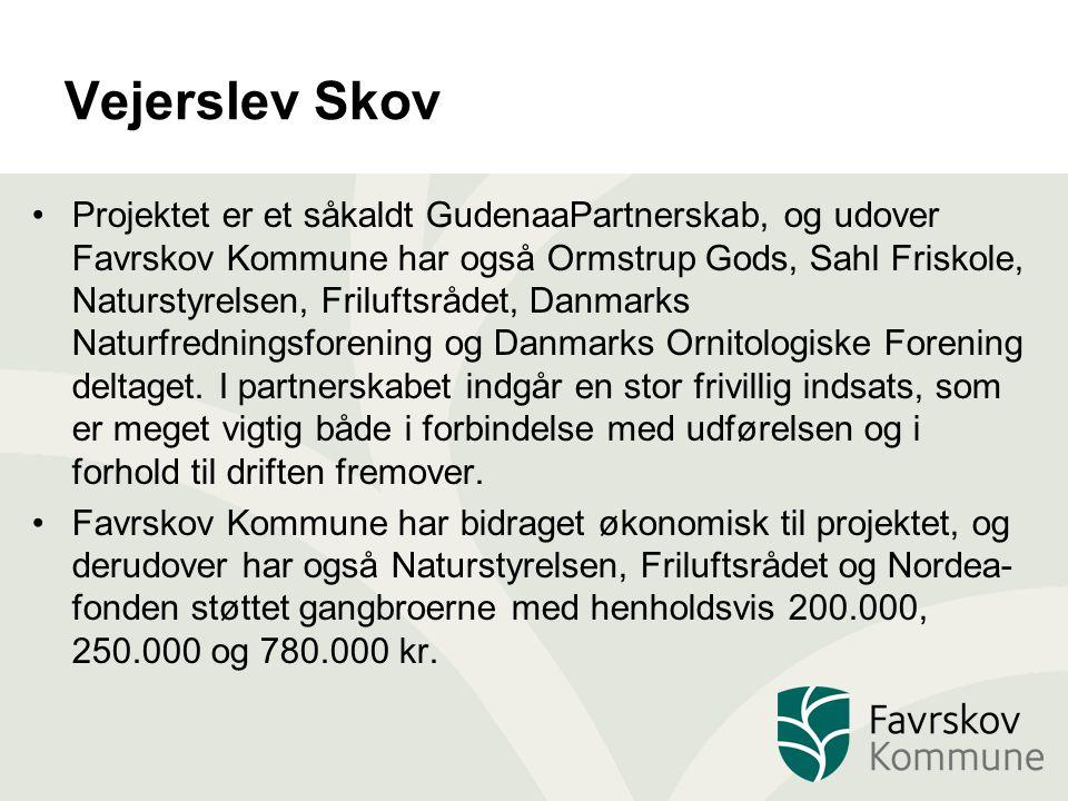 Vejerslev Skov Projektet er et såkaldt GudenaaPartnerskab, og udover Favrskov Kommune har også Ormstrup Gods, Sahl Friskole, Naturstyrelsen, Friluftsrådet, Danmarks Naturfredningsforening og Danmarks Ornitologiske Forening deltaget.