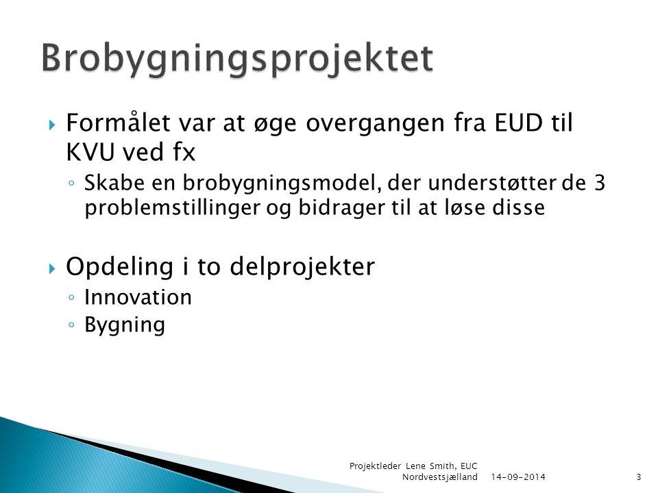  Formålet var at øge overgangen fra EUD til KVU ved fx ◦ Skabe en brobygningsmodel, der understøtter de 3 problemstillinger og bidrager til at løse disse  Opdeling i to delprojekter ◦ Innovation ◦ Bygning 14-09-2014 Projektleder Lene Smith, EUC Nordvestsjælland3