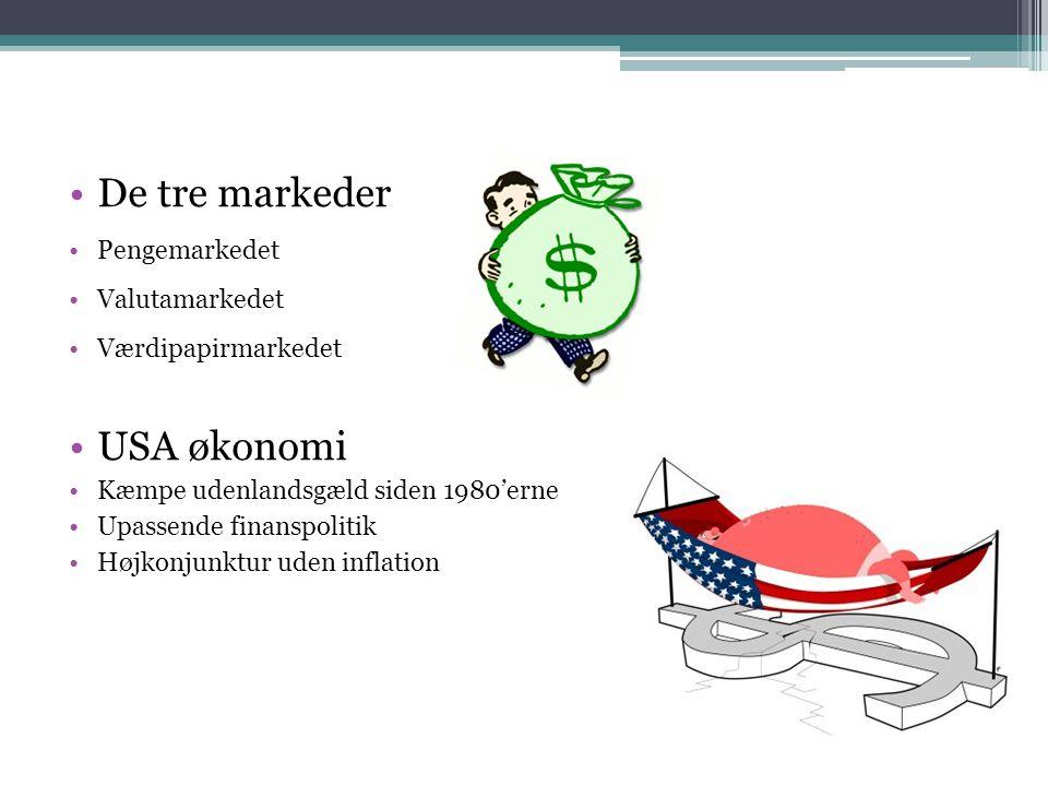 De tre markeder Pengemarkedet Valutamarkedet Værdipapirmarkedet USA økonomi Kæmpe udenlandsgæld siden 1980'erne Upassende finanspolitik Højkonjunktur uden inflation