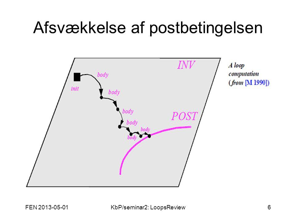 FEN 2013-05-01KbP/seminar2: LoopsReview6 Afsvækkelse af postbetingelsen Figur fjernet pga.