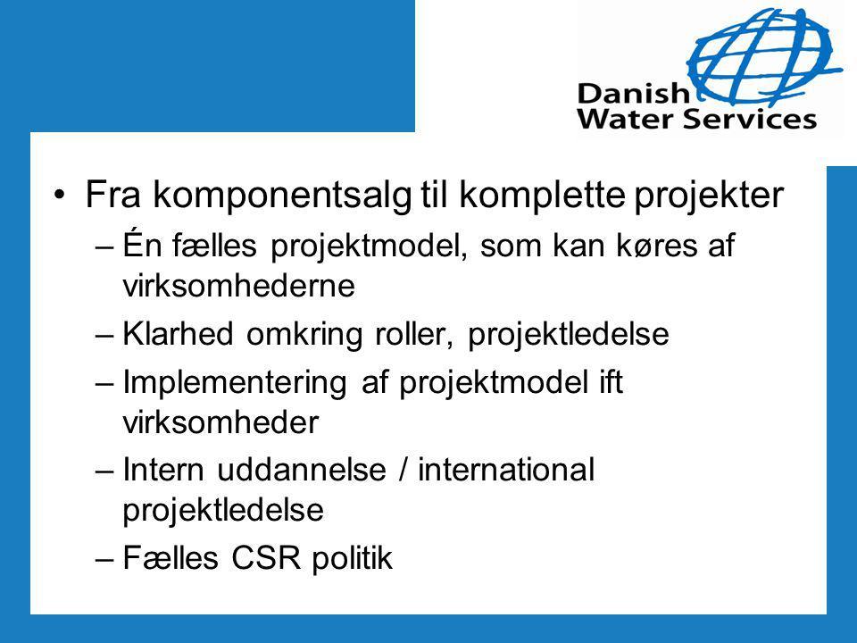 Fra komponentsalg til komplette projekter –Én fælles projektmodel, som kan køres af virksomhederne –Klarhed omkring roller, projektledelse –Implementering af projektmodel ift virksomheder –Intern uddannelse / international projektledelse –Fælles CSR politik