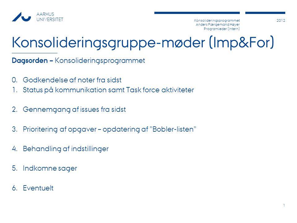 Konsolideringsprogrammet Anders Færgemand Høyer Programleder (Intern) 2012 AARHUS UNIVERSITET Konsolideringsgruppe-møder (Imp&For) Dagsorden – Konsolideringsprogrammet 0.