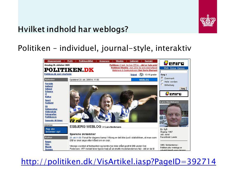 Hvilket indhold har weblogs.