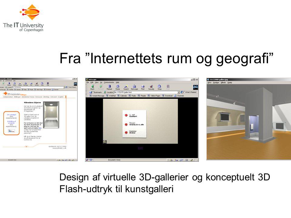 Fra Internettets rum og geografi Design af virtuelle 3D-gallerier og konceptuelt 3D Flash-udtryk til kunstgalleri