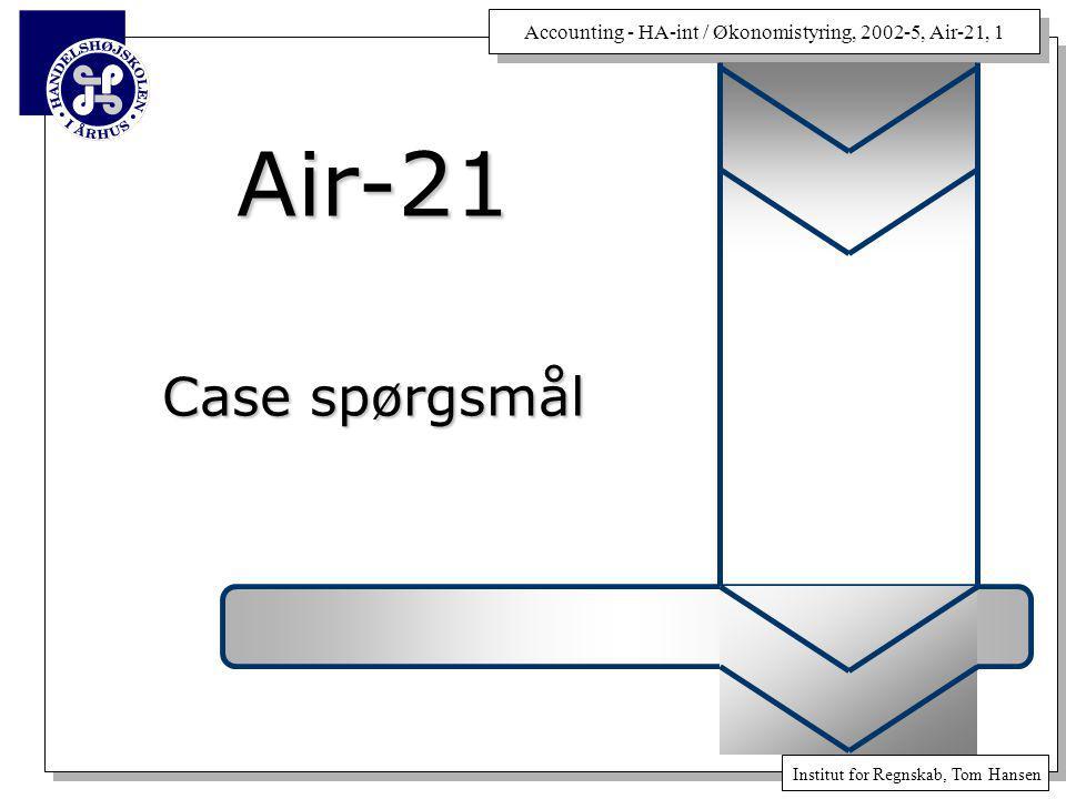 Accounting - HA-int / Økonomistyring, 2002-5, Air-21, 1 Institut for Regnskab, Tom Hansen Air-21 Case spørgsmål