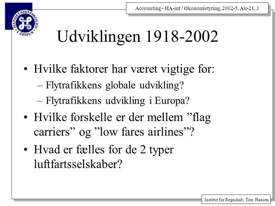 Accounting - HA-int / Økonomistyring, 2002-5, Air-21, 3 Institut for Regnskab, Tom Hansen Udviklingen 1918-2002 Hvilke faktorer har været vigtige for: –Flytrafikkens globale udvikling.
