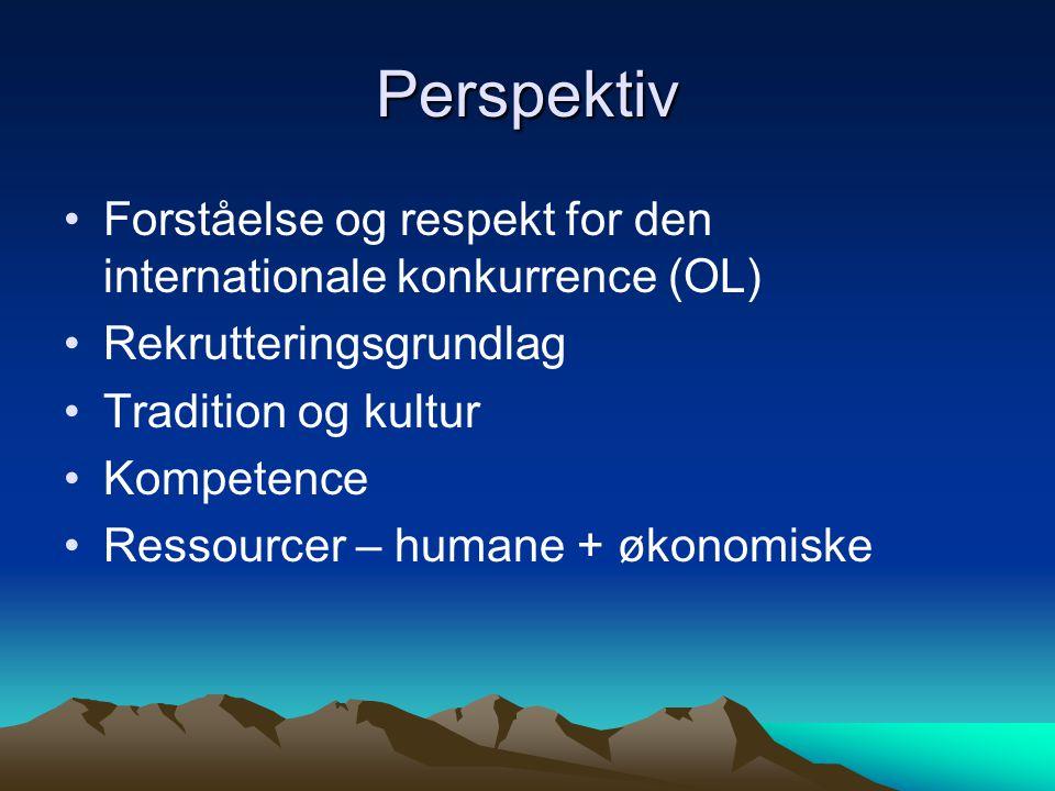 Perspektiv Forståelse og respekt for den internationale konkurrence (OL) Rekrutteringsgrundlag Tradition og kultur Kompetence Ressourcer – humane + økonomiske
