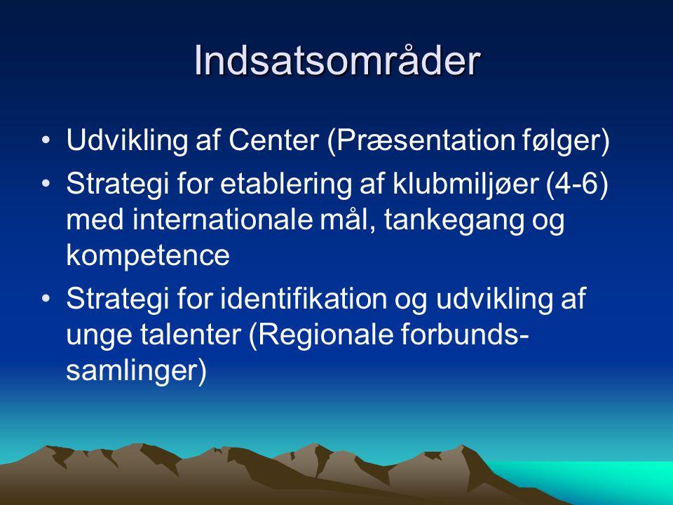 Indsatsområder Udvikling af Center (Præsentation følger) Strategi for etablering af klubmiljøer (4-6) med internationale mål, tankegang og kompetence Strategi for identifikation og udvikling af unge talenter (Regionale forbunds- samlinger)