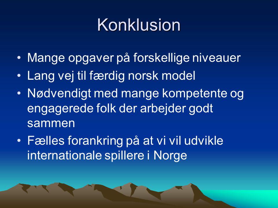 Konklusion Mange opgaver på forskellige niveauer Lang vej til færdig norsk model Nødvendigt med mange kompetente og engagerede folk der arbejder godt sammen Fælles forankring på at vi vil udvikle internationale spillere i Norge