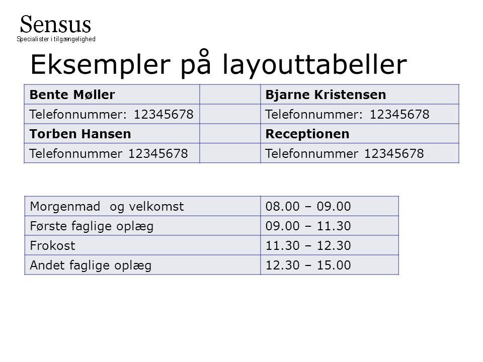 Eksempler på layouttabeller Bente MøllerBjarne Kristensen Telefonnummer: 12345678 Torben HansenReceptionen Telefonnummer 12345678 Morgenmad og velkomst08.00 – 09.00 Første faglige oplæg09.00 – 11.30 Frokost11.30 – 12.30 Andet faglige oplæg12.30 – 15.00