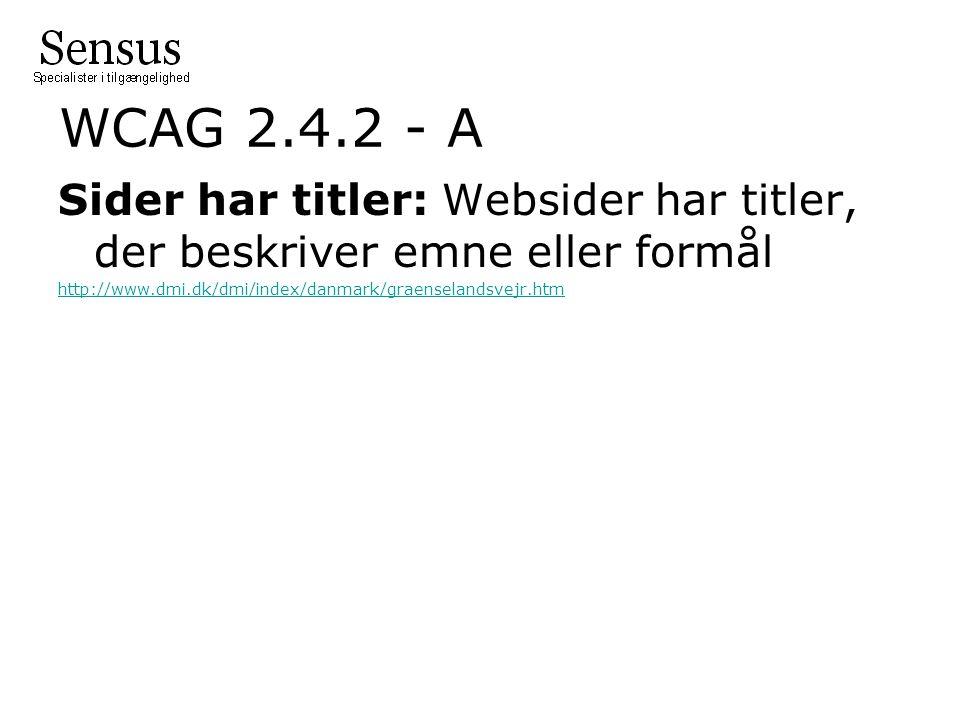 WCAG 2.4.2 - A Sider har titler: Websider har titler, der beskriver emne eller formål http://www.dmi.dk/dmi/index/danmark/graenselandsvejr.htm