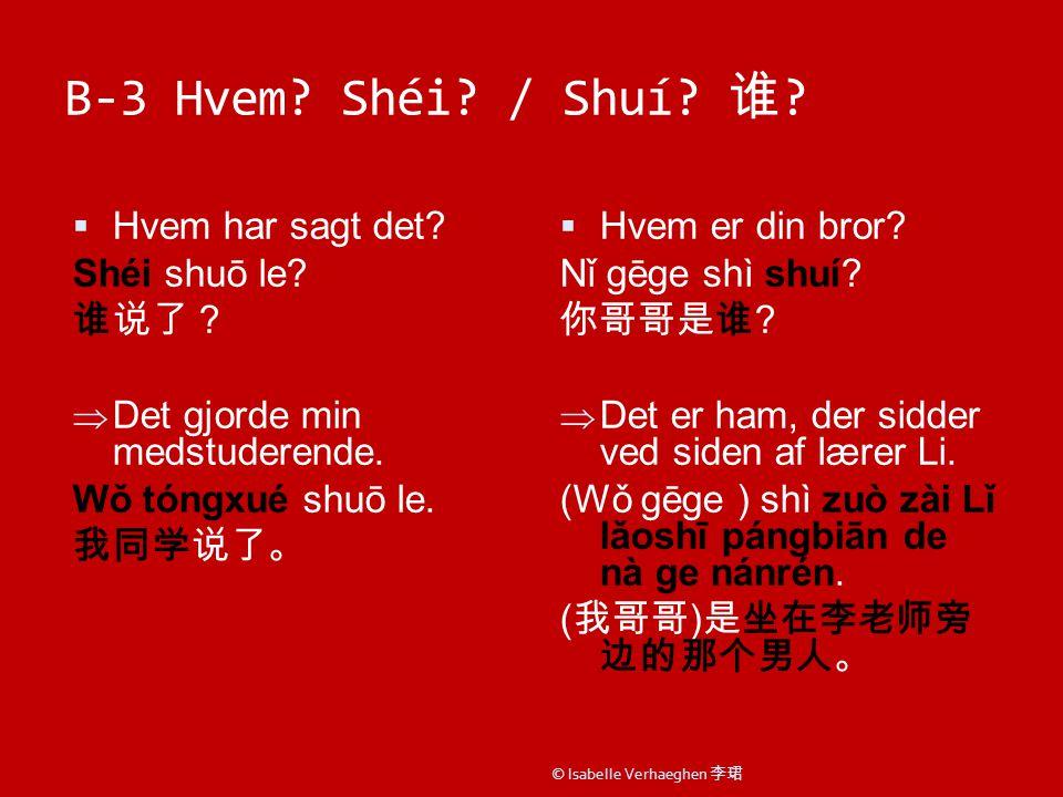 B-3 Hvem. Shéi. / Shuí. 谁 .  Hvem har sagt det.