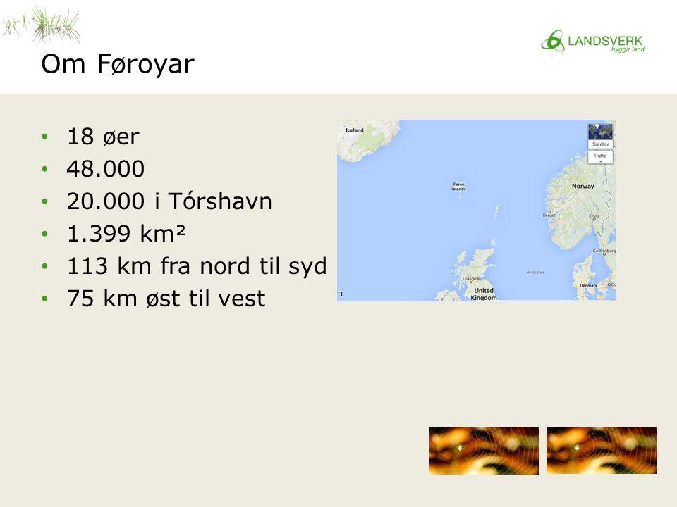 Om Føroyar 18 øer 48.000 20.000 i Tórshavn 1.399 km² 113 km fra nord til syd 75 km øst til vest