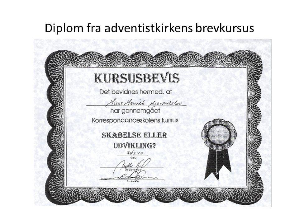 Diplom fra adventistkirkens brevkursus