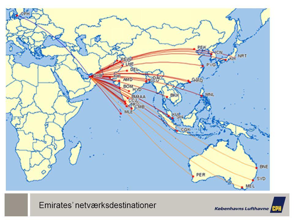 Emirates' netværksdestinationer