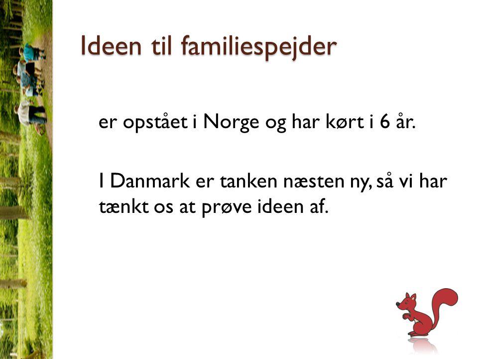 Ideen til familiespejder er opstået i Norge og har kørt i 6 år.