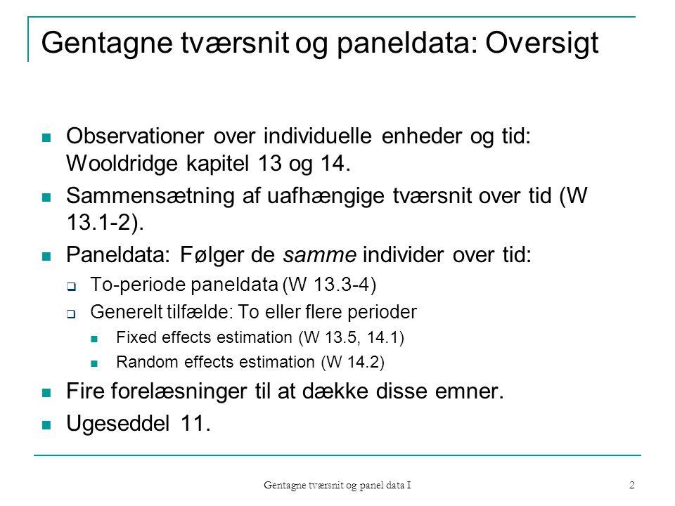 2 Gentagne tværsnit og paneldata: Oversigt Observationer over individuelle enheder og tid: Wooldridge kapitel 13 og 14.
