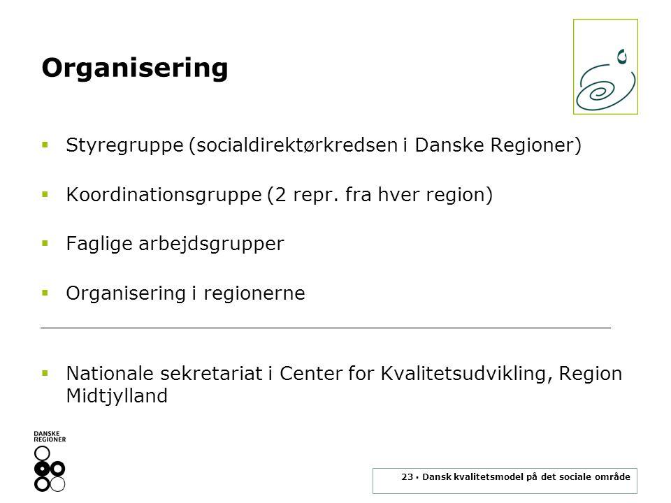 23 ▪ Dansk kvalitetsmodel på det sociale område Organisering  Styregruppe (socialdirektørkredsen i Danske Regioner)  Koordinationsgruppe (2 repr.