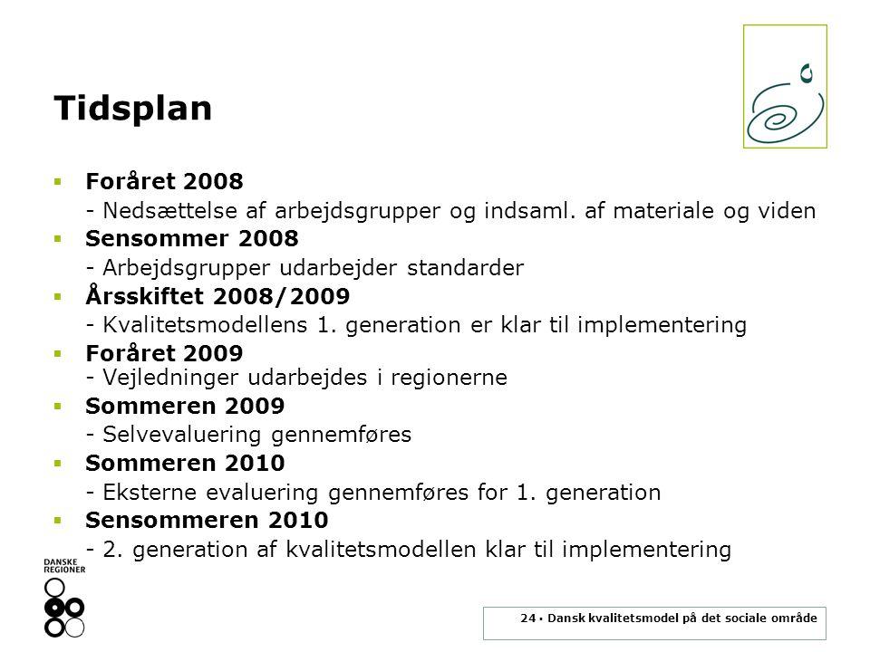 24 ▪ Dansk kvalitetsmodel på det sociale område Tidsplan  Foråret 2008 - Nedsættelse af arbejdsgrupper og indsaml.