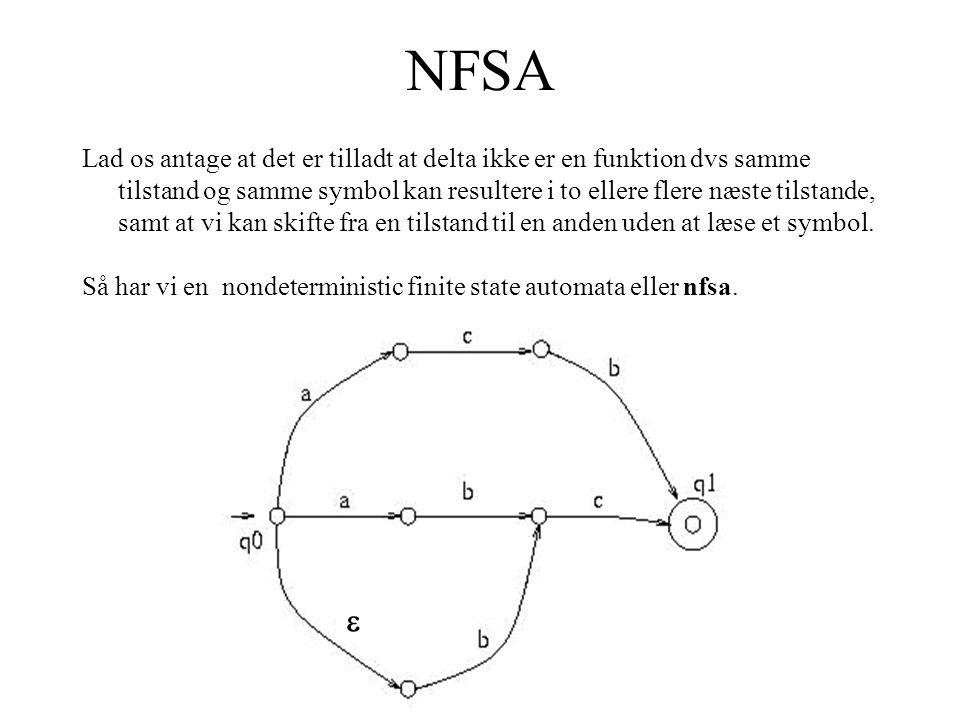 NFSA Lad os antage at det er tilladt at delta ikke er en funktion dvs samme tilstand og samme symbol kan resultere i to ellere flere næste tilstande, samt at vi kan skifte fra en tilstand til en anden uden at læse et symbol.