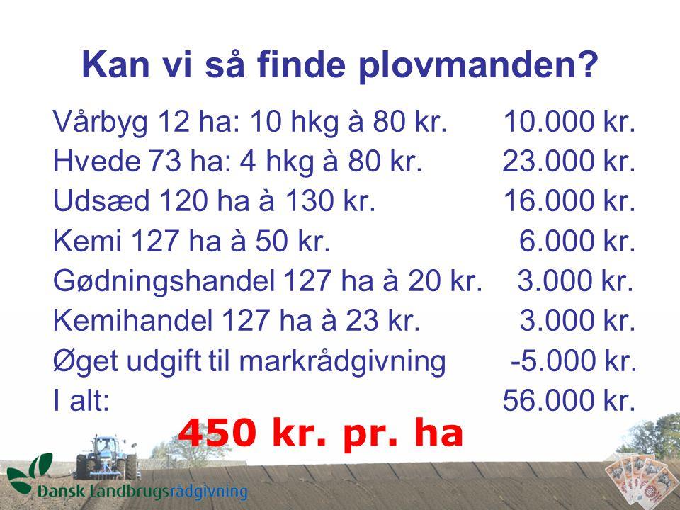 Kan vi så finde plovmanden. Vårbyg 12 ha: 10 hkg à 80 kr.