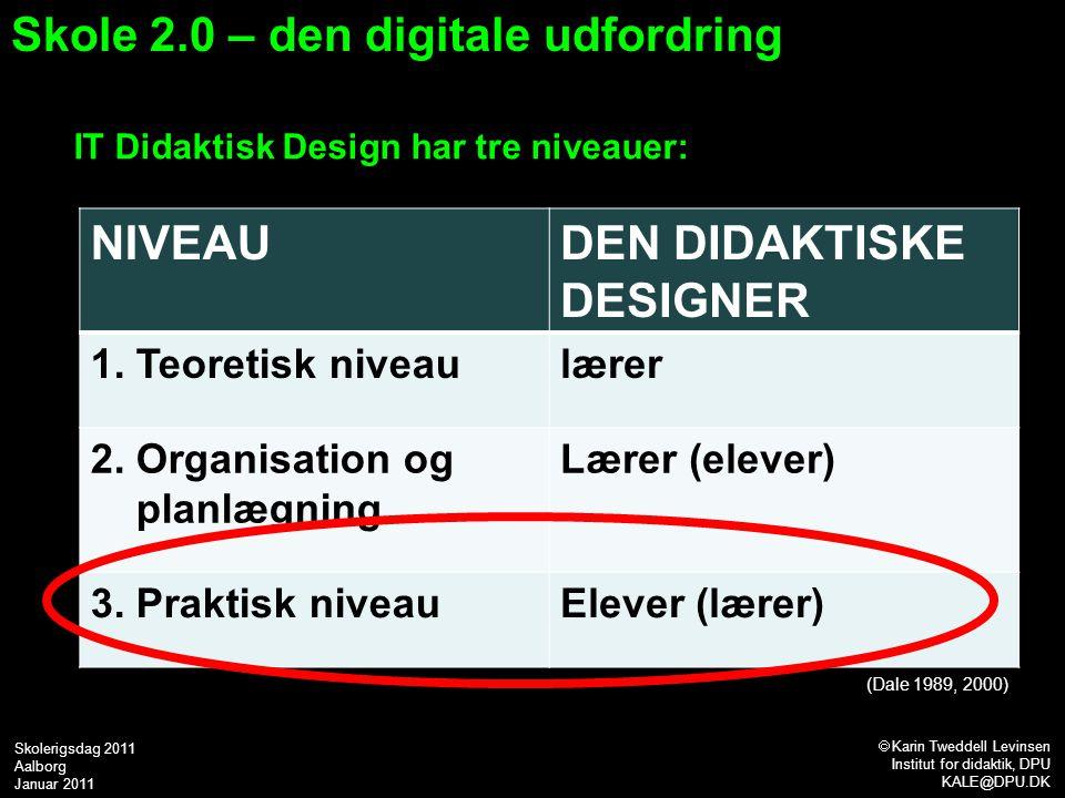 IT Didaktisk Design har tre niveauer: (Dale 1989, 2000) Skole 2.0 – den digitale udfordring NIVEAUDEN DIDAKTISKE DESIGNER 1.