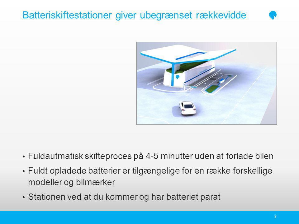 Batteriskiftestationer giver ubegrænset rækkevidde Fuldautmatisk skifteproces på 4-5 minutter uden at forlade bilen Fuldt opladede batterier er tilgængelige for en række forskellige modeller og bilmærker Stationen ved at du kommer og har batteriet parat 7