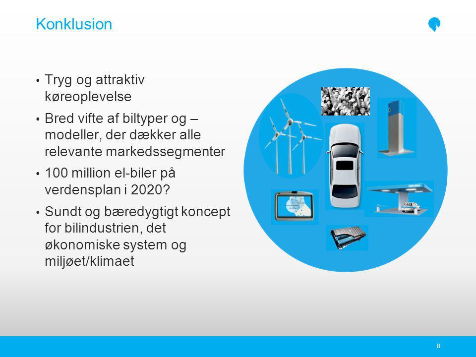 Konklusion Tryg og attraktiv køreoplevelse Bred vifte af biltyper og – modeller, der dækker alle relevante markedssegmenter 100 million el-biler på verdensplan i 2020.
