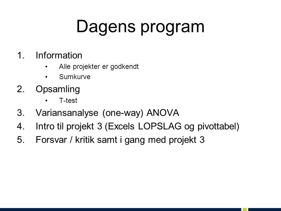 Dagens program 1.Information Alle projekter er godkendt Sumkurve 2.Opsamling T-test 3.Variansanalyse (one-way) ANOVA 4.Intro til projekt 3 (Excels LOPSLAG og pivottabel) 5.Forsvar / kritik samt i gang med projekt 3