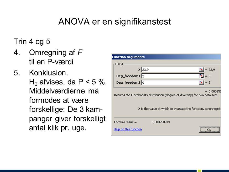 ANOVA er en signifikanstest Trin 4 og 5 4.Omregning af F til en P-værdi 5.Konklusion.