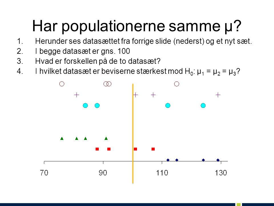 Har populationerne samme μ. 1.Herunder ses datasættet fra forrige slide (nederst) og et nyt sæt.