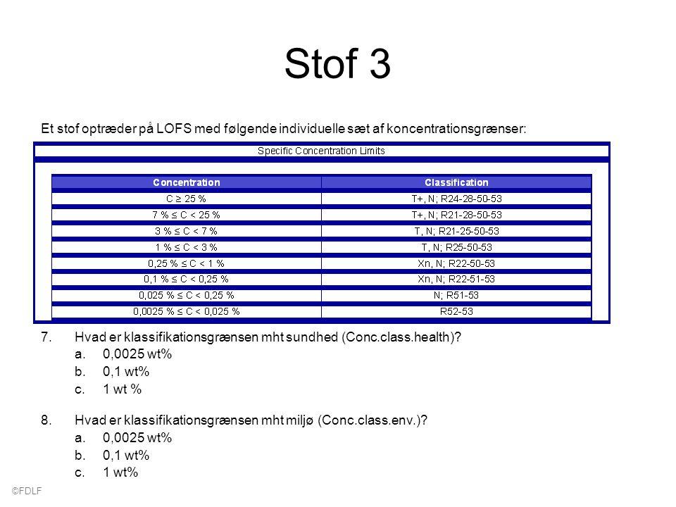 ©FDLF Stof 3 Et stof optræder på LOFS med følgende individuelle sæt af koncentrationsgrænser: 7.Hvad er klassifikationsgrænsen mht sundhed (Conc.class.health).