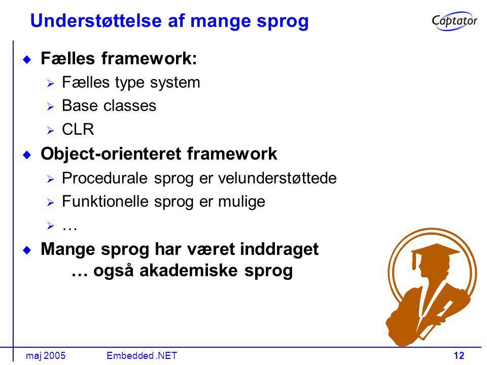 maj 2005Embedded.NET12 Understøttelse af mange sprog Fælles framework: Fælles type system Base classes CLR Object-orienteret framework Procedurale sprog er velunderstøttede Funktionelle sprog er mulige … Mange sprog har været inddraget … også akademiske sprog