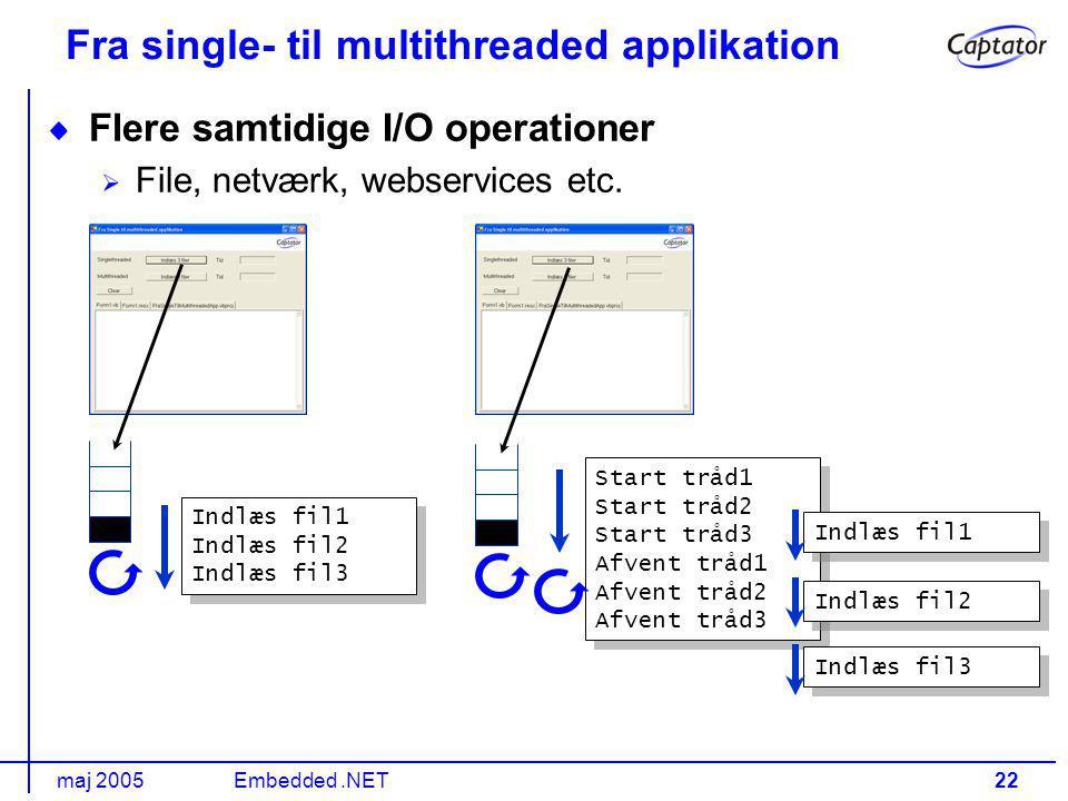maj 2005Embedded.NET22 Fra single- til multithreaded applikation Flere samtidige I/O operationer File, netværk, webservices etc.