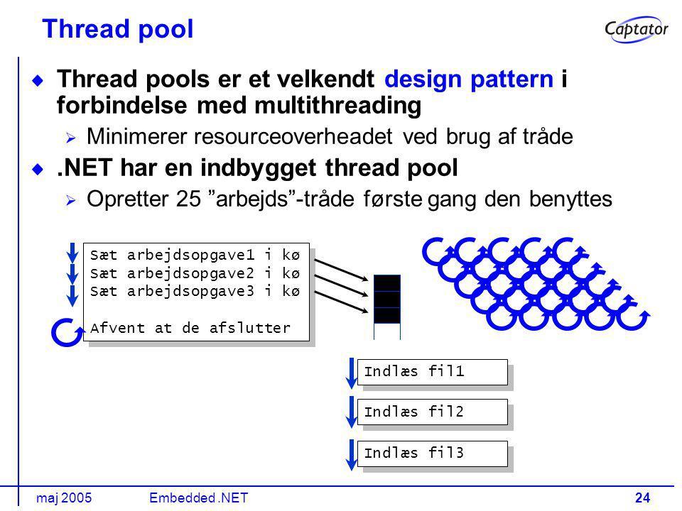 maj 2005Embedded.NET24 Thread pool Thread pools er et velkendt design pattern i forbindelse med multithreading Minimerer resourceoverheadet ved brug af tråde.NET har en indbygget thread pool Opretter 25 arbejds -tråde første gang den benyttes Sæt arbejdsopgave1 i kø Sæt arbejdsopgave2 i kø Sæt arbejdsopgave3 i kø Afvent at de afslutter Sæt arbejdsopgave1 i kø Sæt arbejdsopgave2 i kø Sæt arbejdsopgave3 i kø Afvent at de afslutter Indlæs fil1 Indlæs fil2 Indlæs fil3
