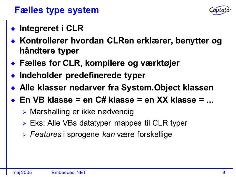 maj 2005Embedded.NET9 Integreret i CLR Kontrollerer hvordan CLRen erklærer, benytter og håndtere typer Fælles for CLR, kompilere og værktøjer Indeholder predefinerede typer Alle klasser nedarver fra System.Object klassen En VB klasse = en C# klasse = en XX klasse =...