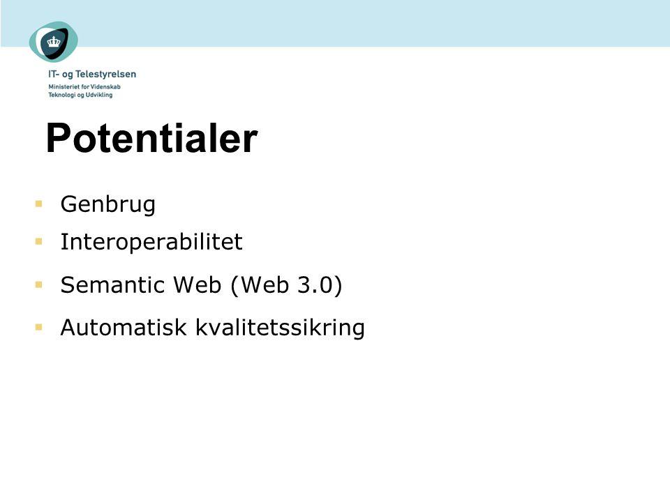 Potentialer  Genbrug  Interoperabilitet  Semantic Web (Web 3.0)  Automatisk kvalitetssikring