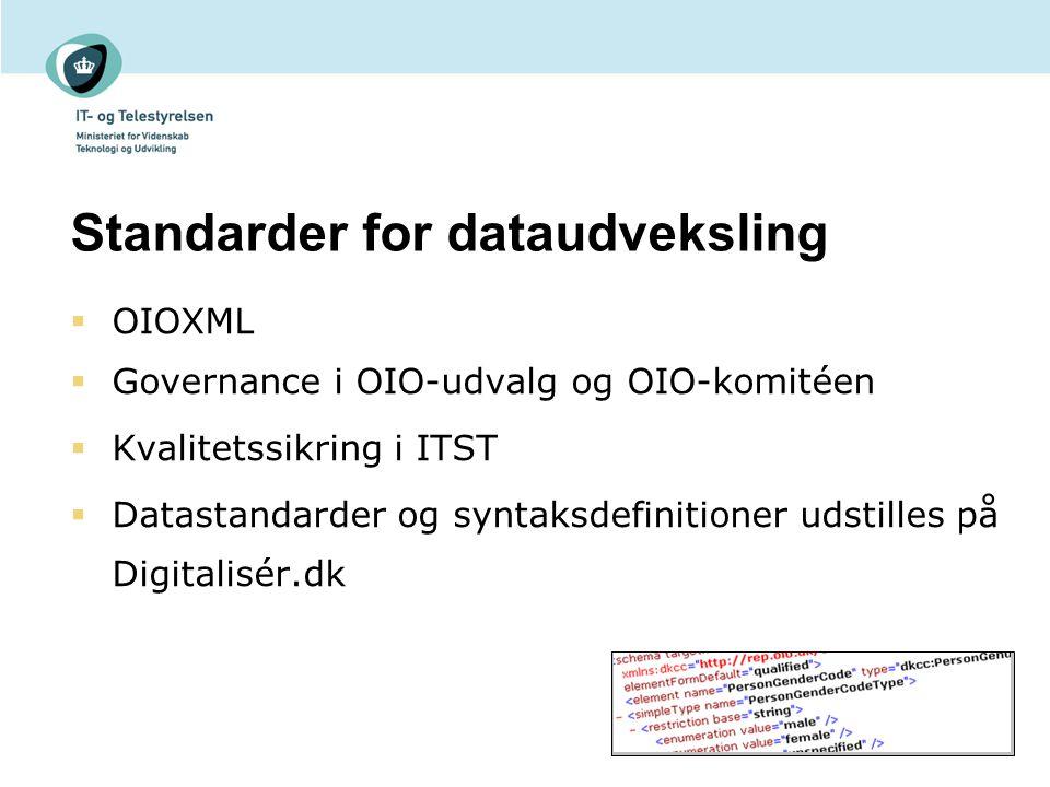 Standarder for dataudveksling  OIOXML  Governance i OIO-udvalg og OIO-komitéen  Kvalitetssikring i ITST  Datastandarder og syntaksdefinitioner udstilles på Digitalisér.dk