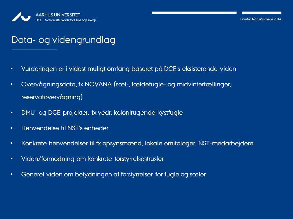 EnviNa Naturårsmøde 2014 AARHUS UNIVERSITET DCE – Nationalt Center for Miljø og Energi Data- og videngrundlag Vurderingen er i videst muligt omfang baseret på DCE's eksisterende viden Overvågningsdata, fx NOVANA (sæl-, fældefugle- og midvintertællinger, reservatovervågning) DMU- og DCE-projekter, fx vedr.